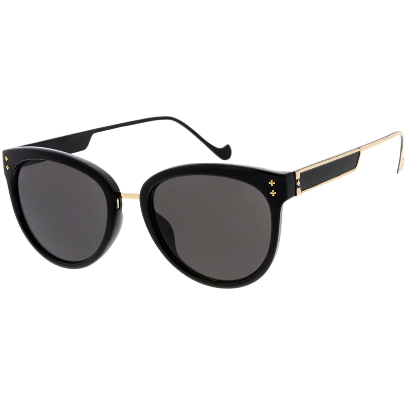 Chic Horn Rimmed Cat Eye Sunglasses Round Colored Mirror Lens C857