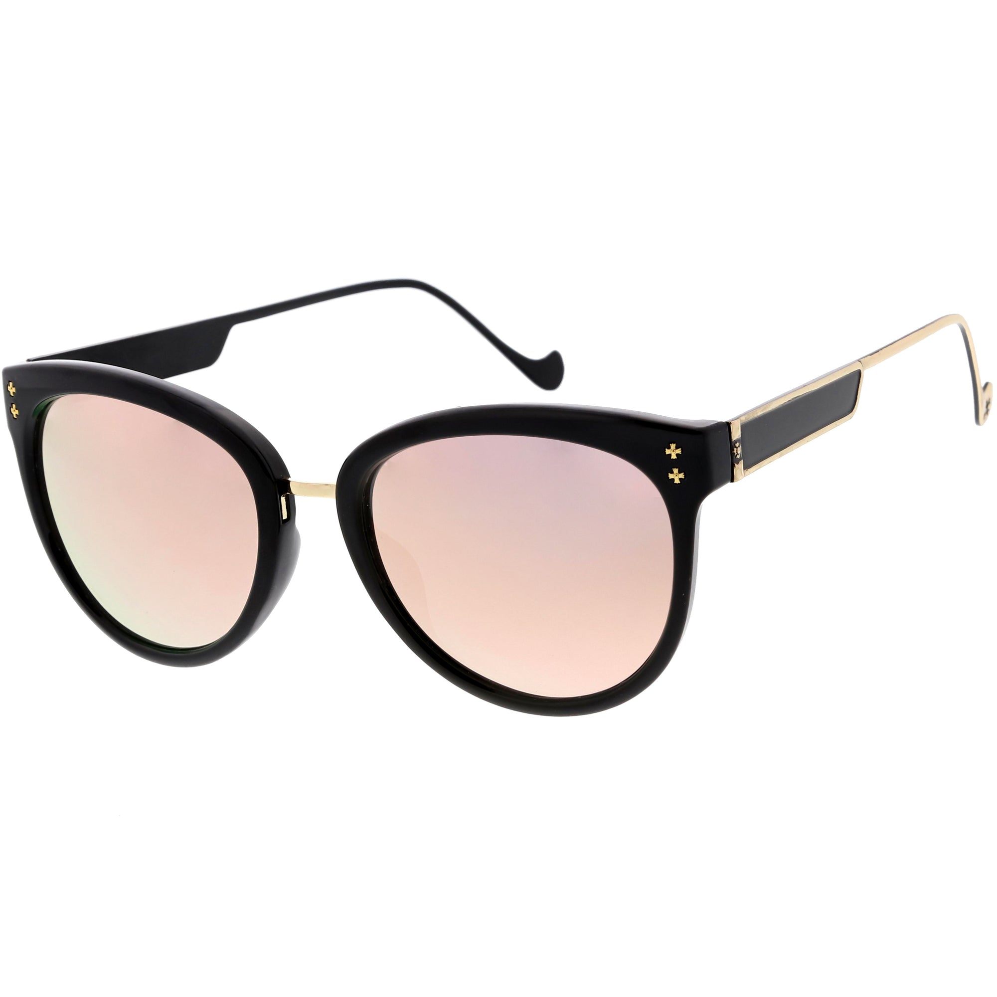Chic Horn Rimmed Cat Eye Sunglasses Round Colored Mirror