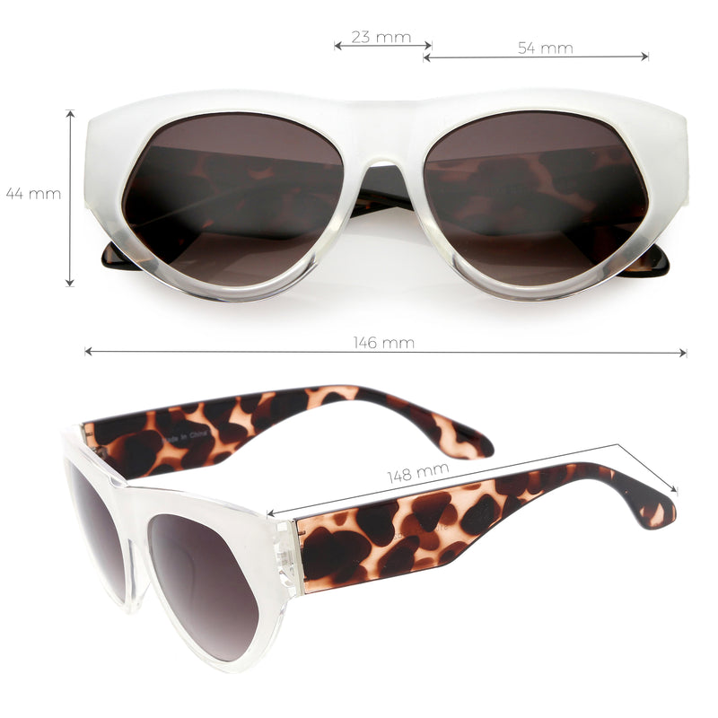 Women's Oversize Block Slanted Lens Cat Eye Sunglasses C863