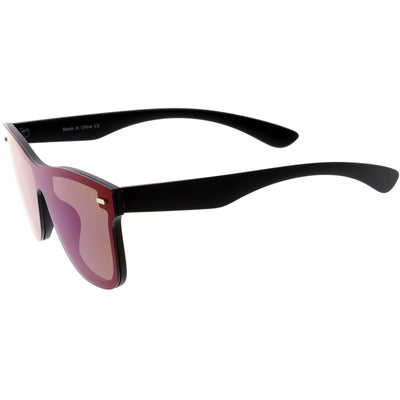 Retro Modern Horned Rim Flat Mirrored Lens Sunglasses C869