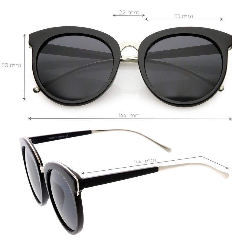 Women's Oversize Round Cat Eye Mirrored Flat Lens Sunglasses C872