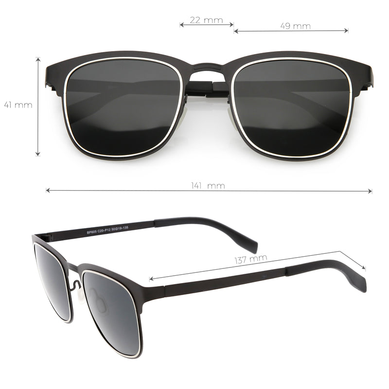 Classic Metal Polarized Lens Horn Rimmed Square Sunglasses C887