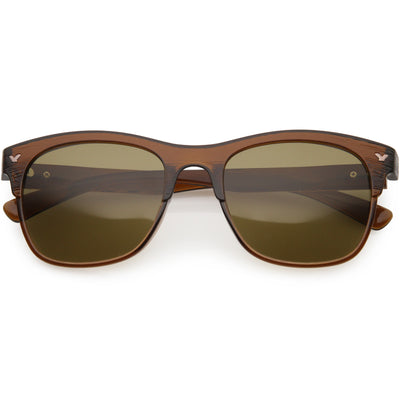 Polarized Lens Faux Wood Textured Horn Rimmed Square Sunglasses C889