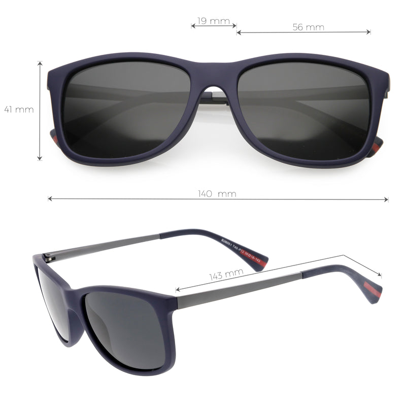Classic Horn Rimmed Metal Arms Polarized Lens Square Sunglasses C891