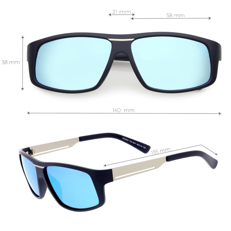 Lifestyle Flat Metal Arms  Polarized Lens Rectangle Sunglasses C892
