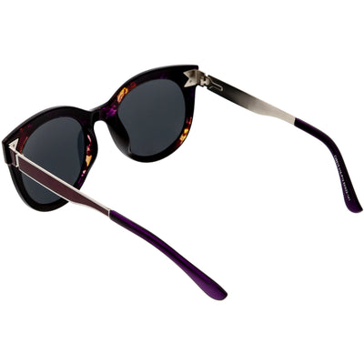 Women's Round Horned Rim Polarized Lens Sunglasses C893