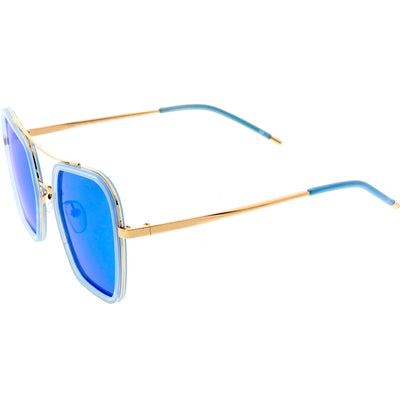 Women's Oversize Retro Modern Square Polarized Flat Lens Sunglasses C894