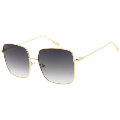 Oversize Women's Square Flat Lens Thin Metal Sunglasses C922