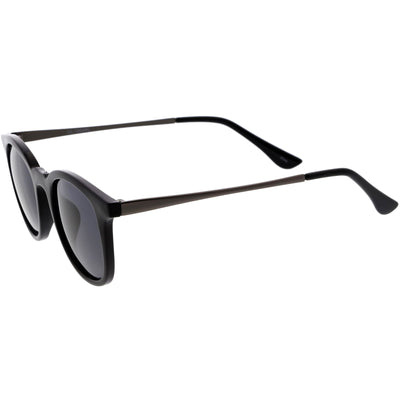 Classic Metal Arms Polarized Round Lens Horn Rimmed Sunglasses C924