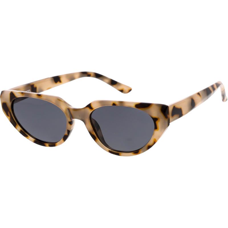 Polarized Neutral Colored Oval Lens Wide Arms Cat Eye Sunglasses C928