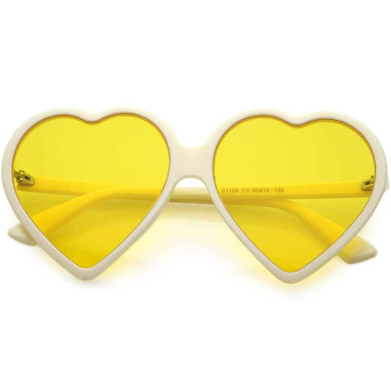 Women's Oversize Heart Shape Color Tone Sunglasses C931