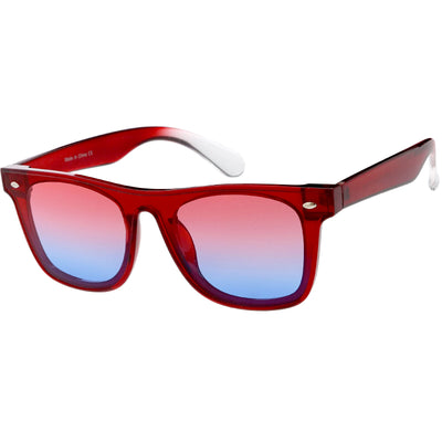 Oversize Modern Horned Rim Color Tone Shield Sunglasses C934