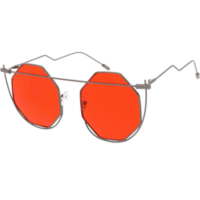Retro Abstract Geometric Octagon Color Tone Metal Sunglasses C942