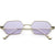 Small Retro 1990's Geometric Hexagon Color Tone Metal Sunglasses C943