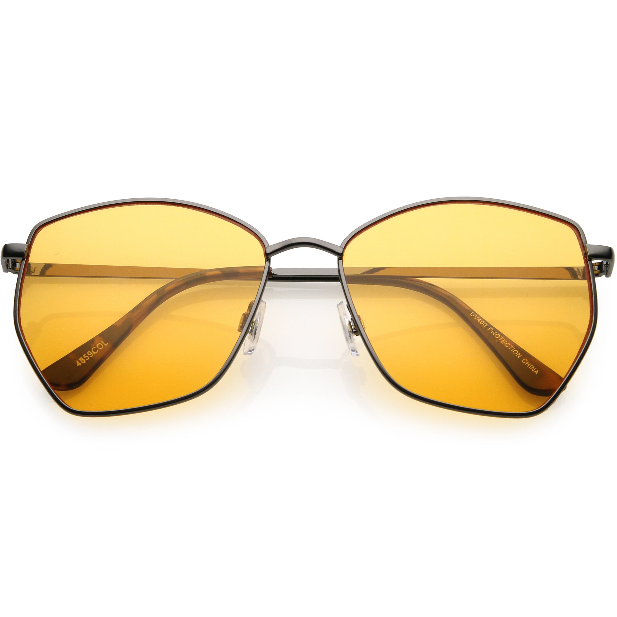 Oversize Retro Geometric Color Tone Flat Lens Metal Sunglasses C947