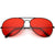 Retro Unisex Large Red Tinted Lens Metal Aviator Sunglasses C962