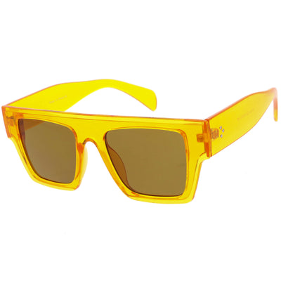 Colorful Translucent Frame Flat Top Retro Rectangle Sunglasses C964