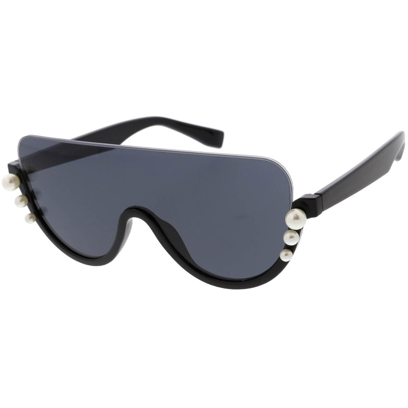Oversize Rock Star Flat Top Shield Pearl Semi Rimless Sunglasses C966