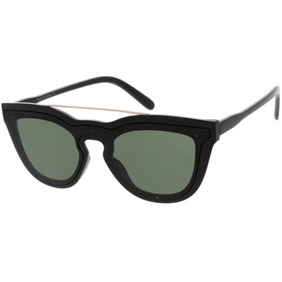 Futuristic Horned Rim Mono Flat Lens Shield Sunglasses C969