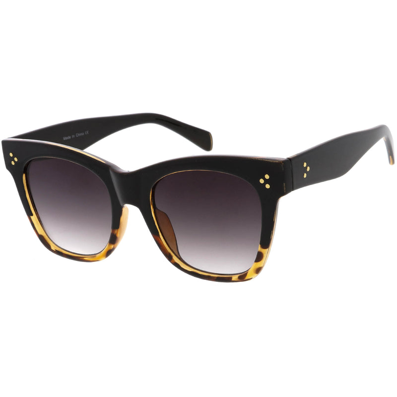 Oversize Gold Detail Accent Classic Plastic Horn Rimmed Sunglasses C971