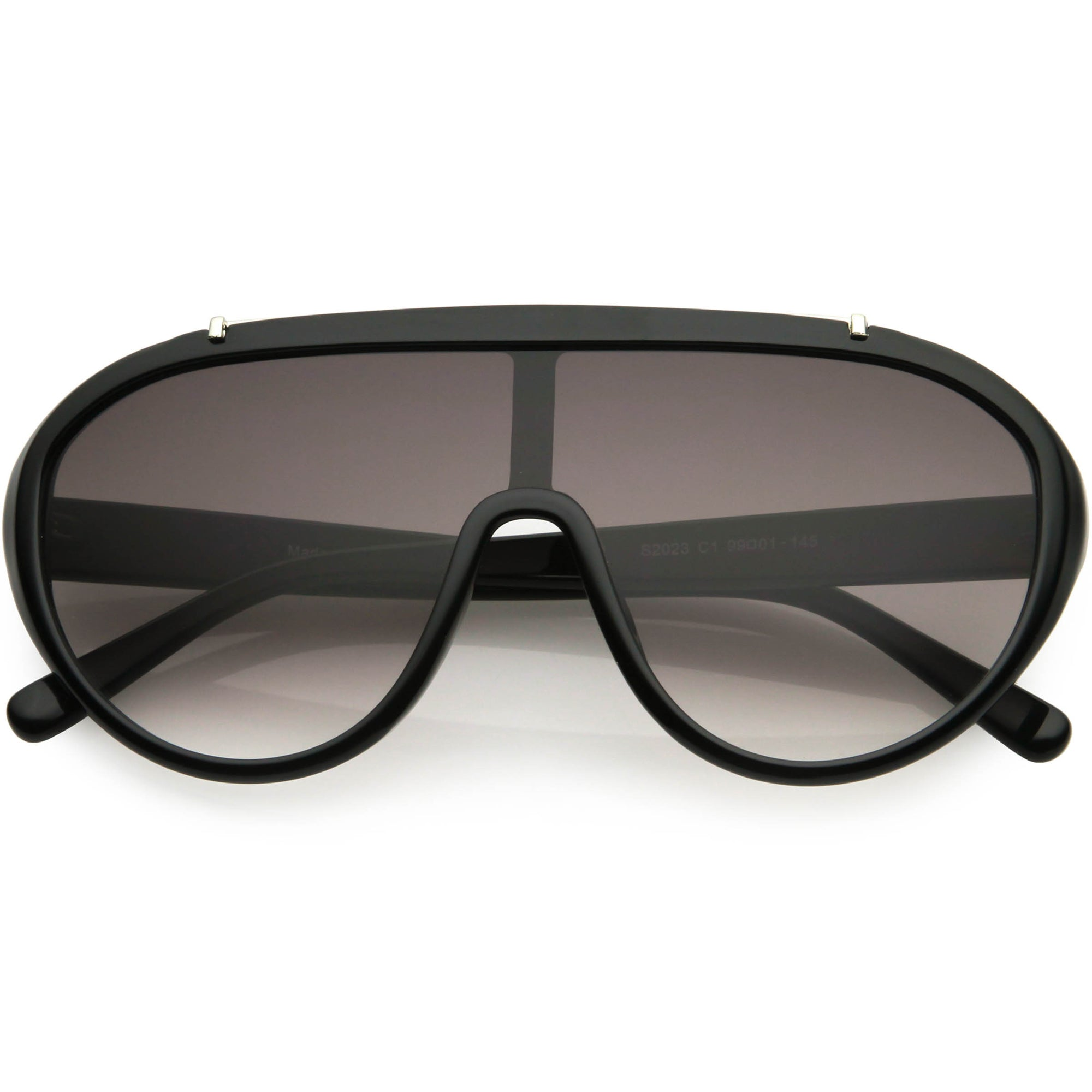 Sporty Fashion Oversize Metal Brow Bar Accent Shield Sunglasses C980