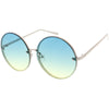 Women's Oversize Round Rimless Color Two Tone Sunglasses C985
