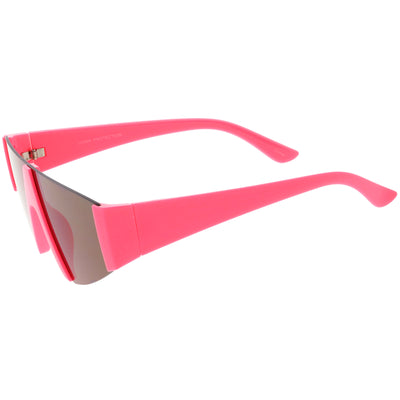 Modern Flat Top Blade Cut Color Mirrored Lens Shield Sunglasses C986