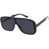 Oversize Retro Modern Disco Square Flat Lens Shield Sunglasses C988