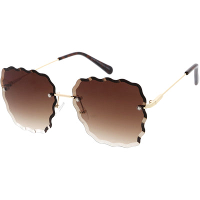 Women's Scalloped Gem Square Gradient Lens Sunglasses C989