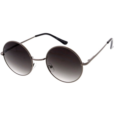 Medium Classic Lennon Style Gradient Colored Lens Thin Metal Frame Round Sunglasses 53mm C990
