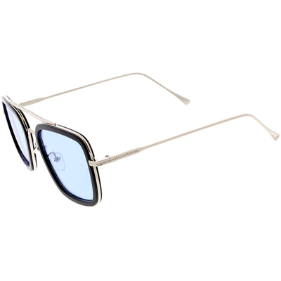 Stark Flight Superhero Pilot Metal Crossbar Accent Square Sunglasses C994