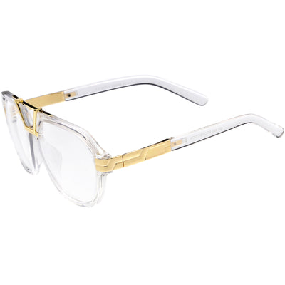 Gold Metal Bar Accent Thick Frame Clear Lens Anti Blue Light Pilot Aviator Glasses C995