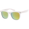 Large Classic Bold White Frame Flash Mirror Lens Horn Rimmed Sunglasses C996