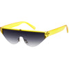 Bold Color Trim Flat Top Futuristic Semi Rimless Cat Eye Shield Sunglasses C999