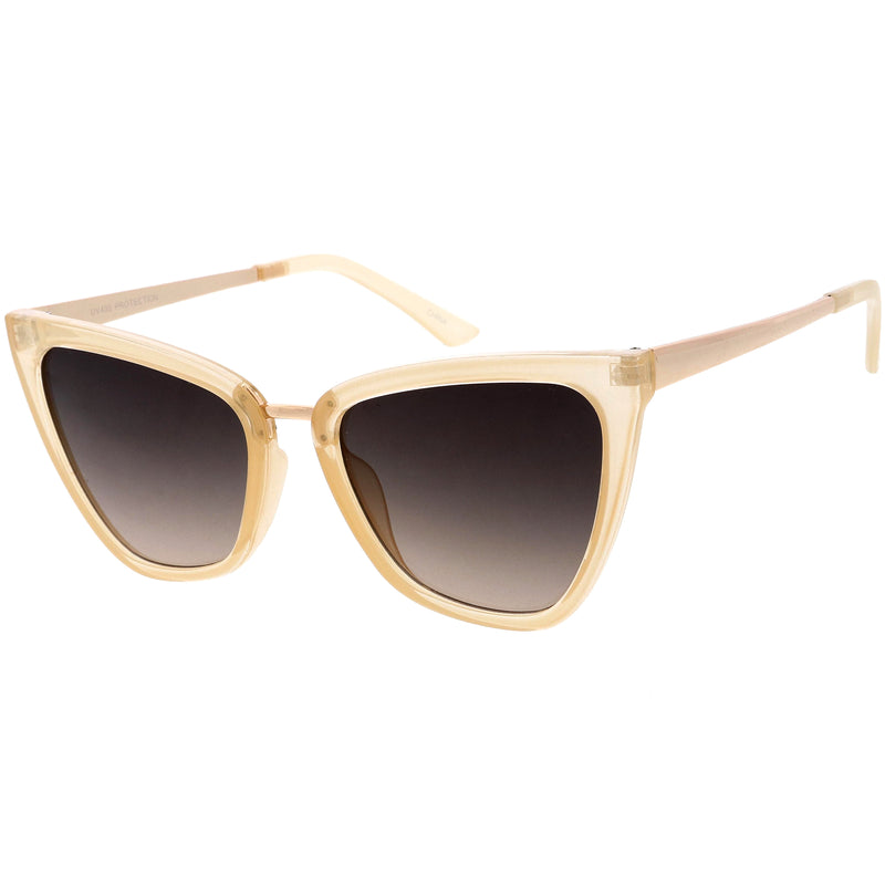 Oversize Two-Tone Metal Nose Bridge Accent Cat Eye Sunglasses D001