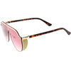 Glitter Side Cover Top Metal Accented Trim Full Rimless Shield Sunglasses D002
