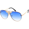 Luxe Bee Rimless Metal Plated Insect Color Oversize Aviator Sunglasses D005
