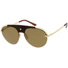 Classic Pilot Metal Brow Bar Star Detail Semi-Rimless Polarized Aviator Sunglasses D007