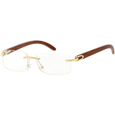 Dapper Rimless Metal Accent Wood Arm Square Lens Blue Light Glasses D011