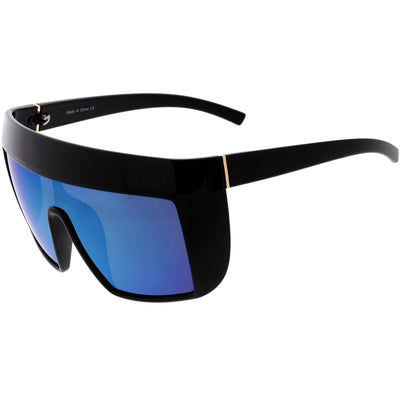 Futuristic Oversize Extended Side Temple Mirrored Lens Sport Shield Sunglasses D013