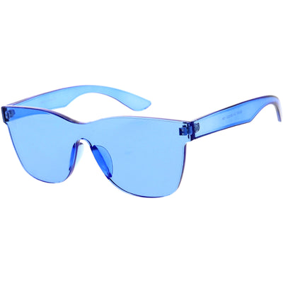 Rimless Colorful Translucent Horn Rimmed Mono Lens Shield Sunglasses D018