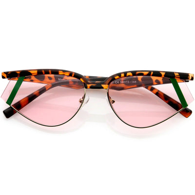 Luxe Geometric Color Temple Detail Browline Cat Eye Sunglasses D019