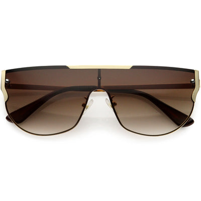 Luxe Designer-Inspired Metal Trim Detail Flat Top Shield Sunglasses D024