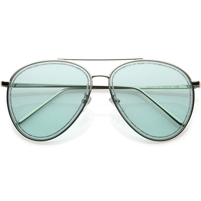Luxe Urban Chic Glitter Trimmed Lens Detail Aviator Sunglasses D026