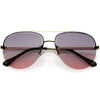 Luxe Oversize Semi-Rimless Bevelled Lens Square Aviator Sunglasses D028
