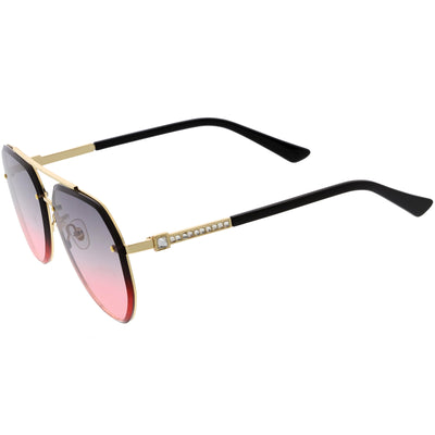 Luxe Rhinestones Temple Accent Bevelled Lens Square Sunglasses D029