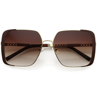 Luxe Oversize Retro Embellished Frame Square Sunglasses D031