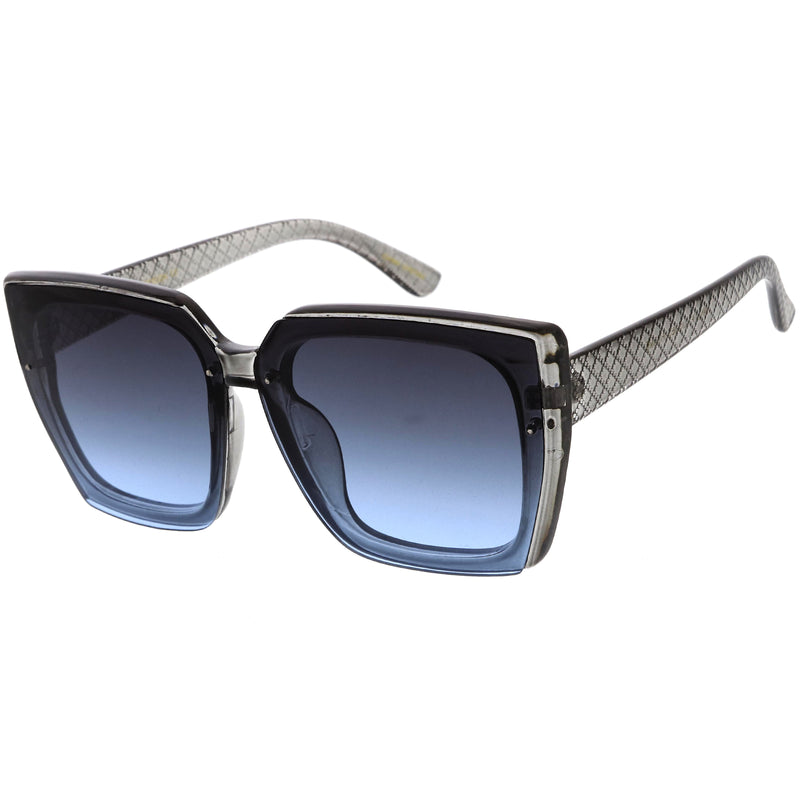 Glamorous Designer-Inspired Argyle Embossed Arms Oversized Square Sunglasses D035