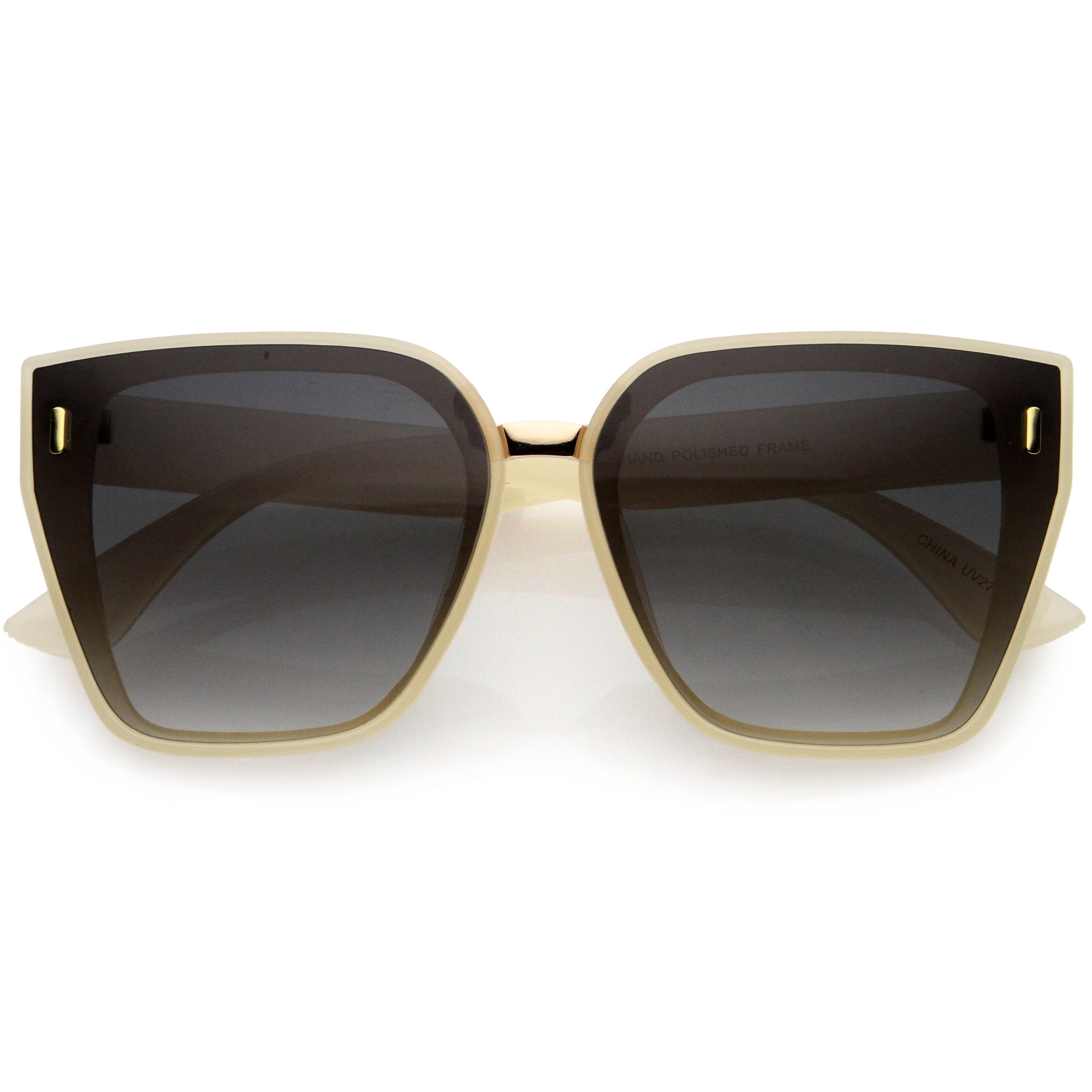 Posh Oversize Two-Tone Metal Nose Bridge Temple Rivet Accent Cat Eye Sunglasses D036