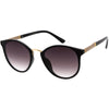 Flirty Two-Tone Glitter Arms Accent Chic Cat Eye P3 Round Sunglasses D037